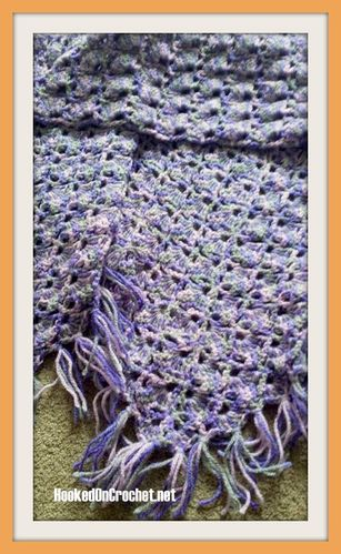 Triangular fringed shawl - purple pyramids