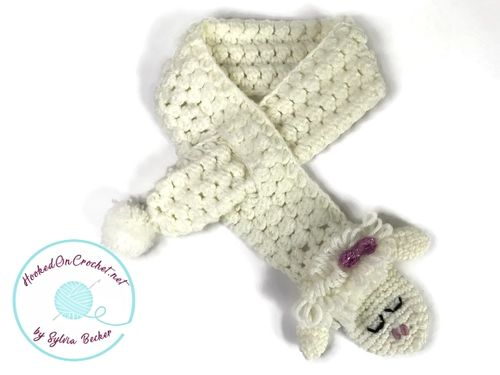 Crochet Baby Scarf Sleepy Sheep, ecru