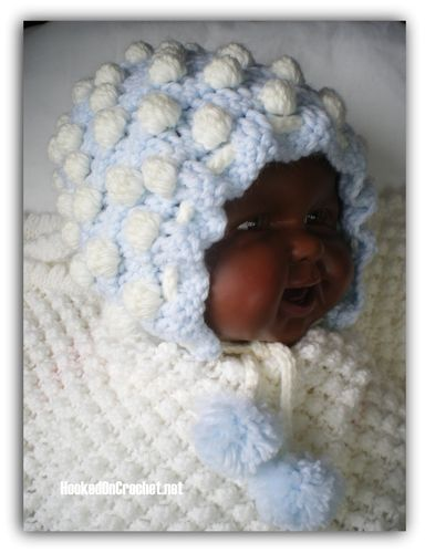 Pretty Bubbles Baby Bonnet - blue white