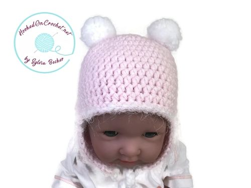 Crochet Earflap Hat for Baby Girl, pink white