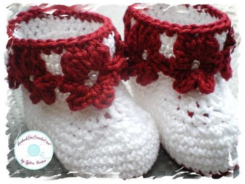 Baby Ankle Flower Booties, white red