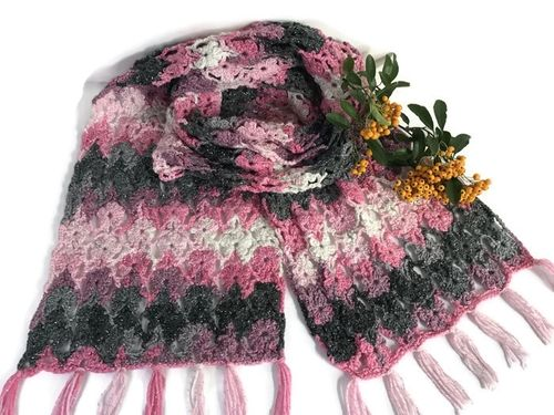 Crochet Flower Power Glitz Shawl - pink