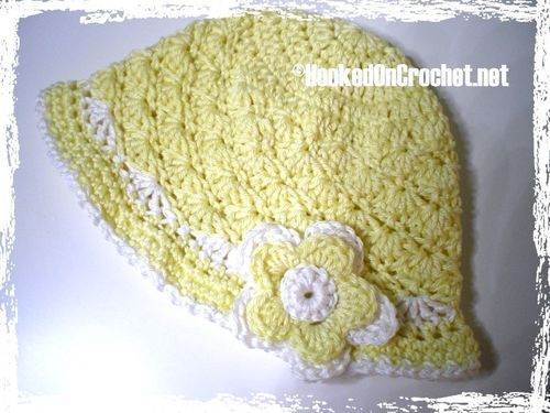 Baby sun hat with brim - yellow white