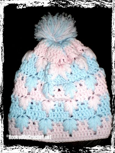 Slouchy hat with pom pom - pink blue