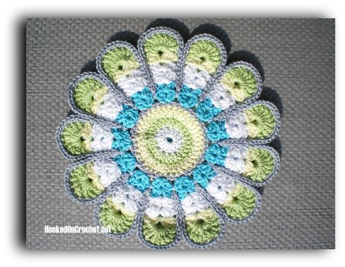 Vintage look flower potholder - green turquoise white yellow