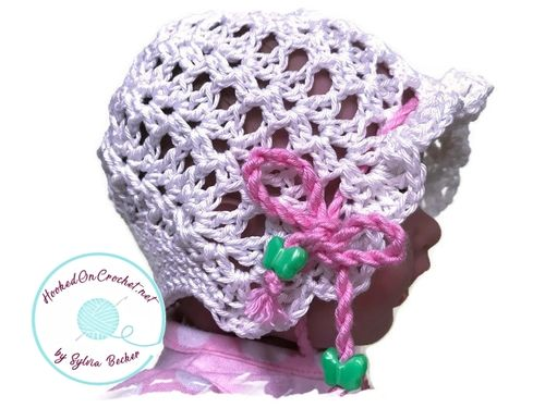 Crochet Vintage Baby Bonnet, pink, white, blue, yellow