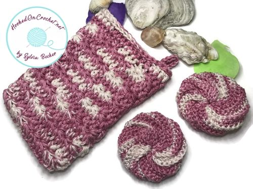 Crochet Home Spa Face Scrubbies and Washcloth Set