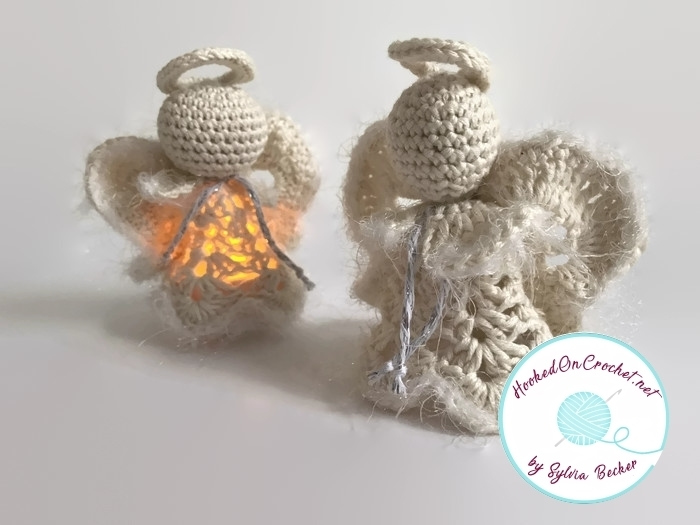 Lighted Crochet Christmas Angel Decoration, ecru