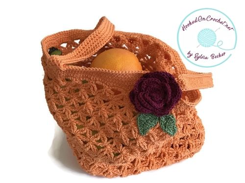 Crochet Floral Market Tote Bag, orange
