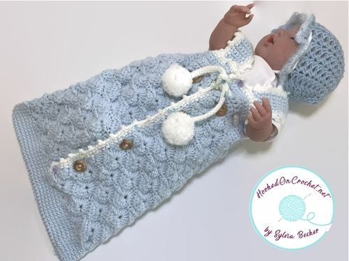 Crochet Baby Sleeping Bag - Blue Love