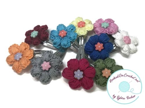 Little girl crochet flower hair clips (set of 2)